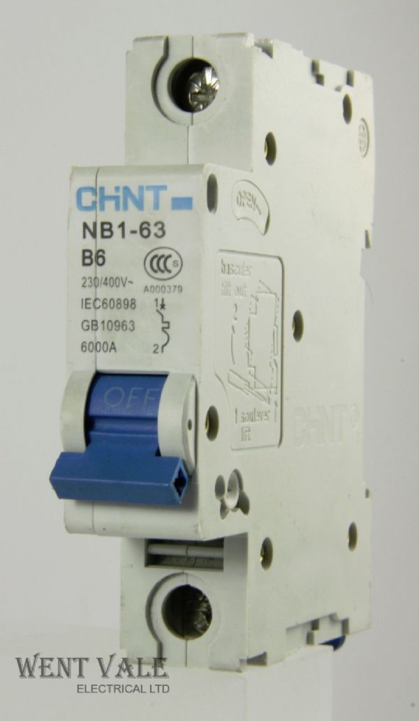 Chint NB1-63-B6 - 6a Type B Single Pole MCB Unused